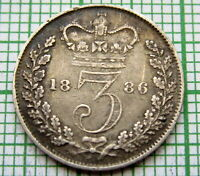 GREAT BRITAIN QUEEN VICTORIA 1886 3 PENCE THREEPENCE SILVER PATINA