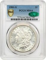 1901-S $1 PCGS/CAC MINT STATE 64 - BETTER DATE S-MINT - MORGAN SILVER DOLLAR