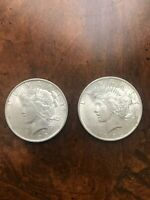 1923 PEACE SILVER DOLLARS LOT OF 2