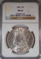 1882 CERTIFIED MORGAN DOLLAR MINT STATE 62 UNCIRCULATED GRADED BY NGC.90 SILVER COIN 047