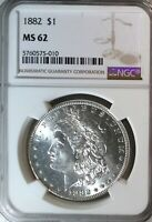 1882 CERTIFIED MORGAN DOLLAR MINT STATE 62 UNCIRCULATED GRADED BY NGC.90 SILVER COIN 069