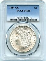 1884-CC MORGAN SILVER DOLLAR PCGS MINT STATE 65, AWESOME WHITE LUSTER,  CARSON CITY
