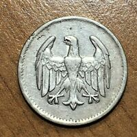 1924 A GERMANY   WEIMAR REPUBLIC MARK COIN SILVER KM 42 VF
