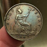 1862 GREAT BRITAIN 1/2 PENNY COIN KM 748.2