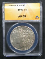 1902-S $1 ANACS AU55. STRONG DETAIL AND REMAINING LUSTER.  320353
