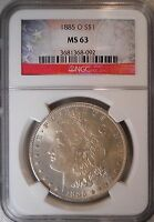 1885-O UNC. NGC MINT STATE 63 CERTIFIED MORGAN DOLLAR OLD 90 SILVER COIN 150