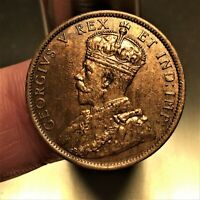 1911 CANADA CENT COIN GEORGE V KM 15 UNC. / MINT STATE