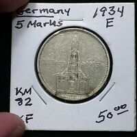 1934 E GERMANY   THIRD REICH 5 REICHSMARK SILVER COIN KM 82 XF 2617
