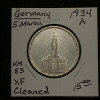 1934 A GERMANY   THIRD REICH 5 REICHSMARK SILVER COIN KM 83 XF CLEANED 2618