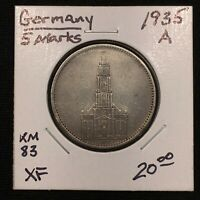 1935 A GERMANY   THIRD REICH 5 REICHSMARK SILVER COIN KM 83 XF 2621