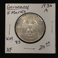 1935 A GERMANY   THIRD REICH 5 REICHSMARK SILVER COIN KM 83 XF 2622