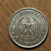 1935 E GERMANY   THIRD REICH 5 REICHSMARK SILVER COIN KM 83 XF 2623
