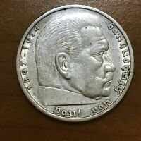 1935 A GERMANY   THIRD REICH 5 REICHSMARK SILVER COIN KM 86 XF 2624