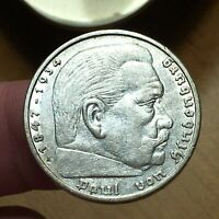 1935 F GERMANY   THIRD REICH 5 REICHSMARK SILVER COIN KM 86 XF 2627