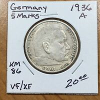 1936 A GERMANY   THIRD REICH 5 REICHSMARK SILVER COIN KM 86 VF/XF 2628