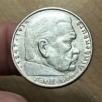 1936 A GERMANY   THIRD REICH 5 REICHSMARK SILVER COIN KM 86 XF 2630