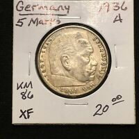1936 A GERMANY   THIRD REICH 5 REICHSMARK SILVER COIN KM 86 XF 2631