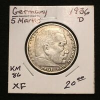 1936 D GERMANY   THIRD REICH 5 REICHSMARK SILVER COIN KM 86 XF 2632