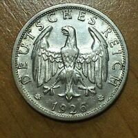 1926 D GERMANY   WEIMAR REPUBLIC 2 REICHSMARK SILVER COIN KM 45 XF 2640