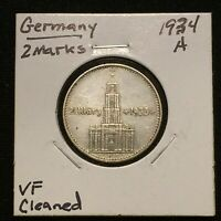 1934 A GERMANY   THIRD REICH 2 REICHSMARK SILVER COIN KM 81 VF CLEANED 2641