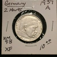 1937 A GERMANY   THIRD REICH 2 REICHSMARK SILVER COIN KM 93 XF 2642