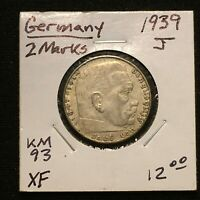 1939 J GERMANY   THIRD REICH 2 REICHSMARK SILVER COIN KM 93 XF 2644