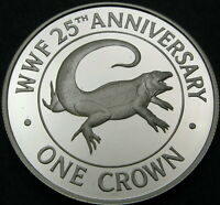 TURKS & CAICOS ISLANDS 1 CROWN 1988 PROOF   SILVER   WORLD W