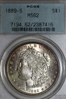 BETTER DATE 1889-S MORGAN SILVER DOLLAR PCGS GREEN LABEL GRADED MINT STATE 62 2387416