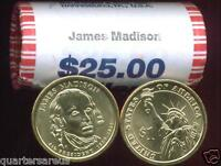 H/T 2007 P MINT JAMES MADISON $25 GOLD DOLLAR ROLL CHEAP SHIPS FREE