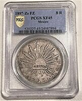 1897 ZS SILVER 8 REALES  PCGS XF 45  AWESOME PCGS GOLD SHIEL
