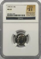 1996 W ROOSEVELT DIME NGC MS65  21 OF 100 GREATEST US MODERN