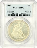 1842 $1 PCGS MINT STATE 62 - LOW MINTAGE DATE - LIBERTY SEATED DOLLAR - LOW MINTAGE DATE