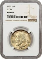 1936 ELGIN 50C NGC MINT STATE 66 COLORFUL TONING - SILVER CLASSIC COMMEMORATIVE