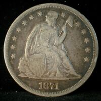 1871 SEATED LIBERTY SILVER DOLLAR VF CONDITION LOT C277   QZ