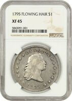 1795 FLOWING HAIR $1 NGC EXTRA FINE 45 3 LEAVES BUST SILVER DOLLAR -  TYPE COIN