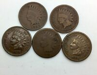 1874 1878 1881 1888 & 1894  INDIAN HEAD CENT 5 PIECE  LOT  COLLECTOR COINS