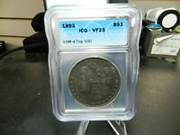 1893 MORGAN SILVER DOLLAR CERTIFIED ICG  VF25 VAM-4  TOP 100