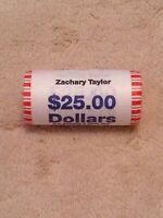 2009 ZACHARY TAYLOR PRESIDENTIAL DOLLAR COIN ROLL UNOPENED UNCIRCULATED
