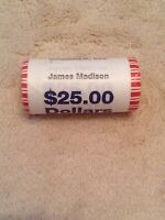 2007 JAMES MADISON PRESIDENTIAL DOLLOR COIN ROLL UNOPENED UNCIRCULATED