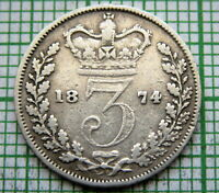 GREAT BRITAIN QUEEN VICTORIA 1874 3 PENCE THREEPENCE SILVER
