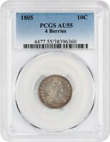 1805 10C PCGS AU55 4 BERRIES COLORFUL TONING - BUST DIME - COLORFUL TONING