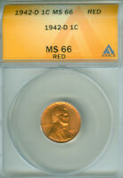 1942-D LINCOLN CENT ANACS MINT STATE 66RD  FREE S/H 1925054
