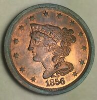 AWESOME 1856 BRAIDED HAIR HALF CENT MOSTLY RED UNCIRCULATED
