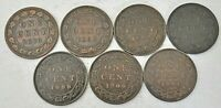 7 CANADA COINS VICTORIA LARGE CENTS 1890 H 1892 1893 1897 18