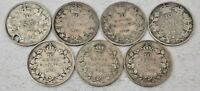 7 CANADA COINS SILVER 10 CENTS 1902 H 1905 1910 1912 1918 19