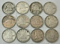 12 CANADA COINS GEORGE VI SILVER 10 CENTS 1938 1952 VF EF