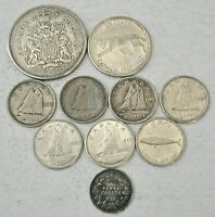 10 CANADA SILVER COINS 25 CENTS TO 5 CENTS 1918 1967 MOSTLY