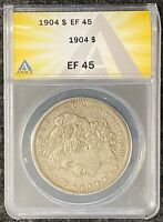 1904-P $1 MORGAN SILVER DOLLAR ANACS SLAB EF 45 UNDERRATED DATE