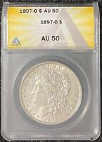 1897-O $1 MORGAN SILVER DOLLAR ANACS SLAB AU 50 TOUGH DATE