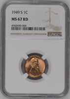 :1949-S 1C LINCOLN CENT LOW POP KEY DATE NGC MINT STATE 67 SCORCHING RED HIGHEST GRADES